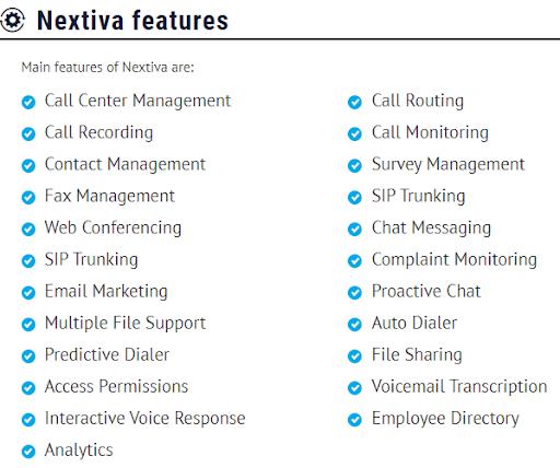 Nextiva features