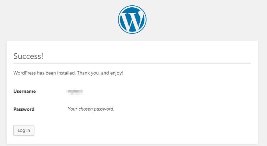 WordPress has been installed